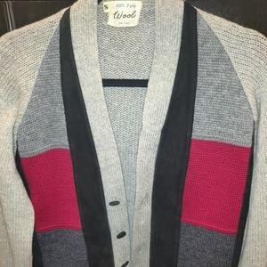 Vintage wool grandpa cardigan sweater w/ suede